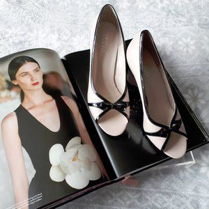 Franco Sarto cream & black leather wedge shoes